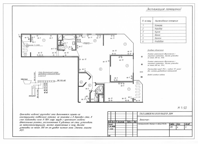 Схема электроснабжения типовой квартиры