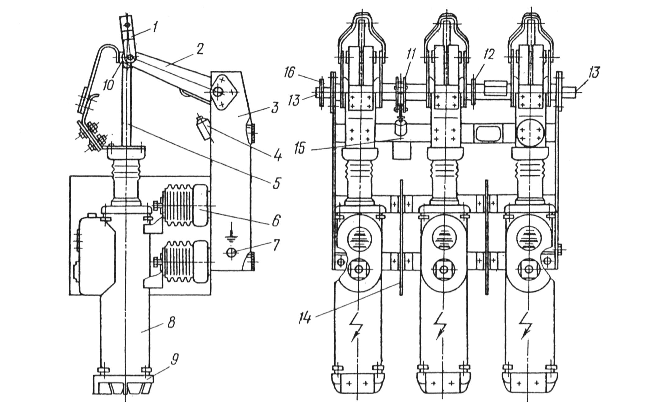 Рис. 1-6. Масляный выключатель ВМГ-10.