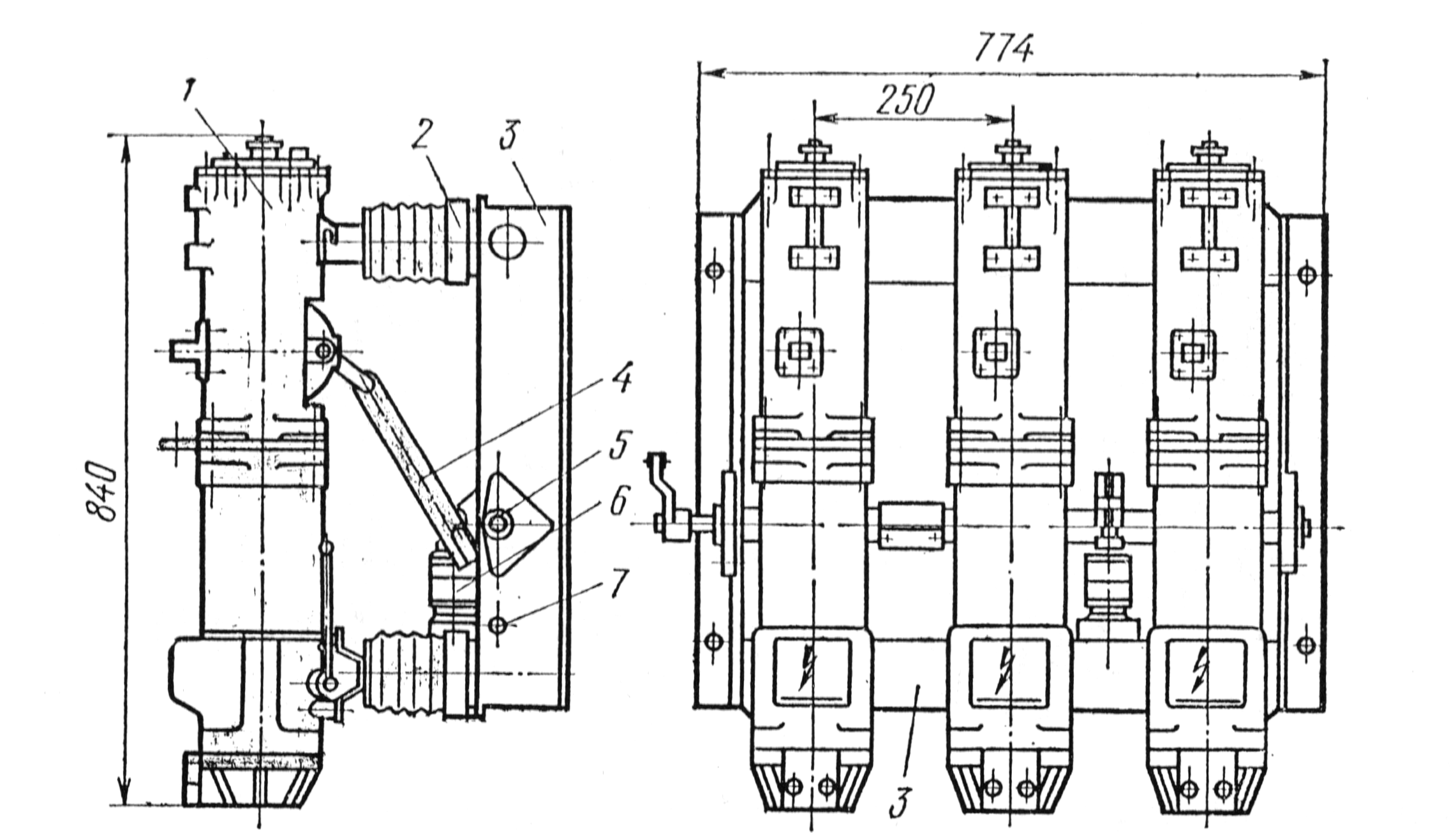 Рис. 1-7. Масляный выключатель ВМП-10.