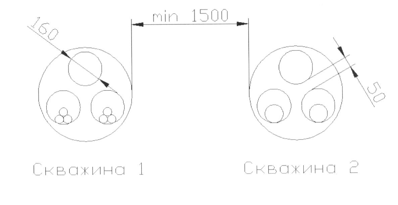 Рис.3-1. Пример расположения и количество труб в скважинах прокола.