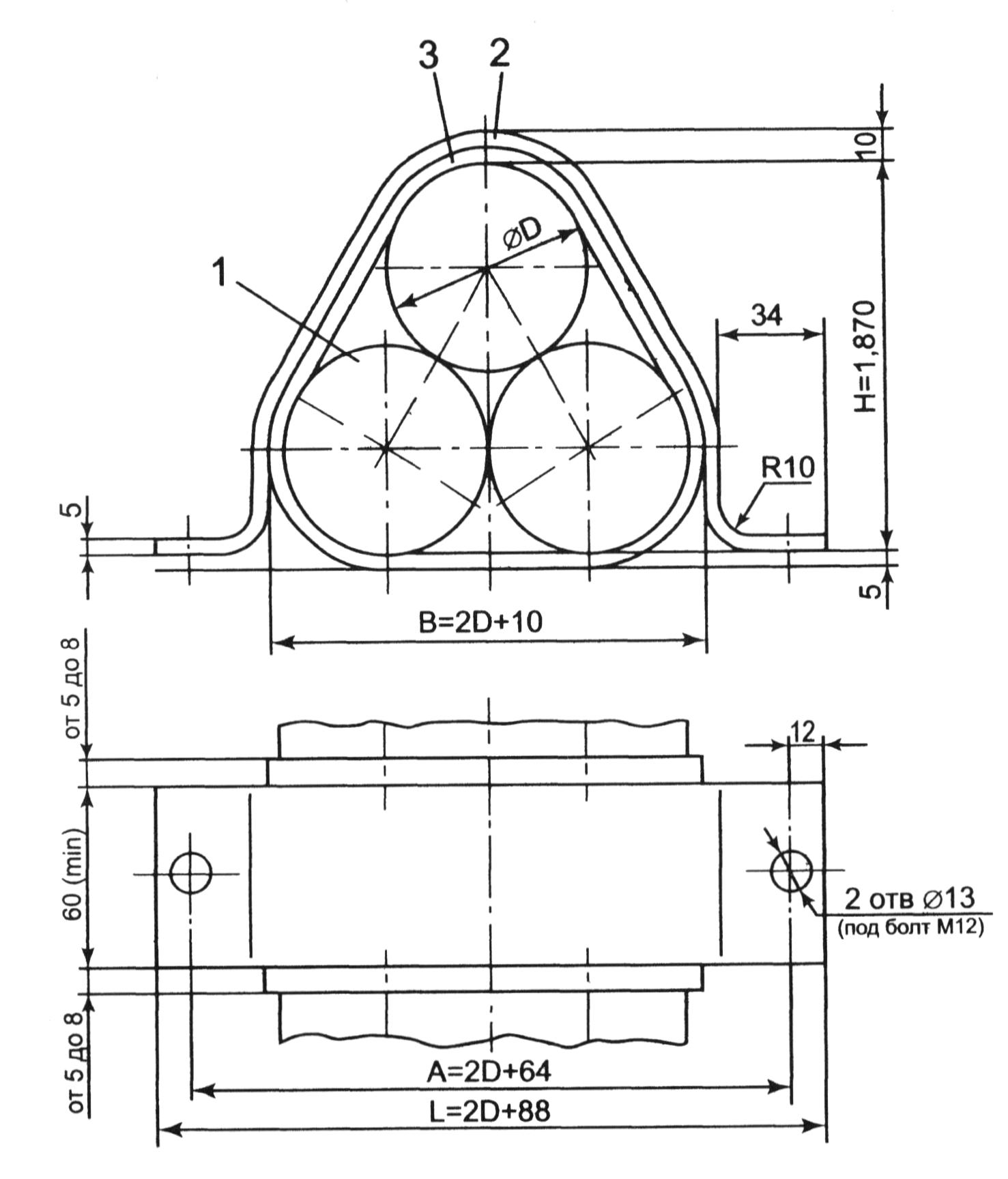 Крепление трех одножильных кабелей в связке на металлоконструкции.