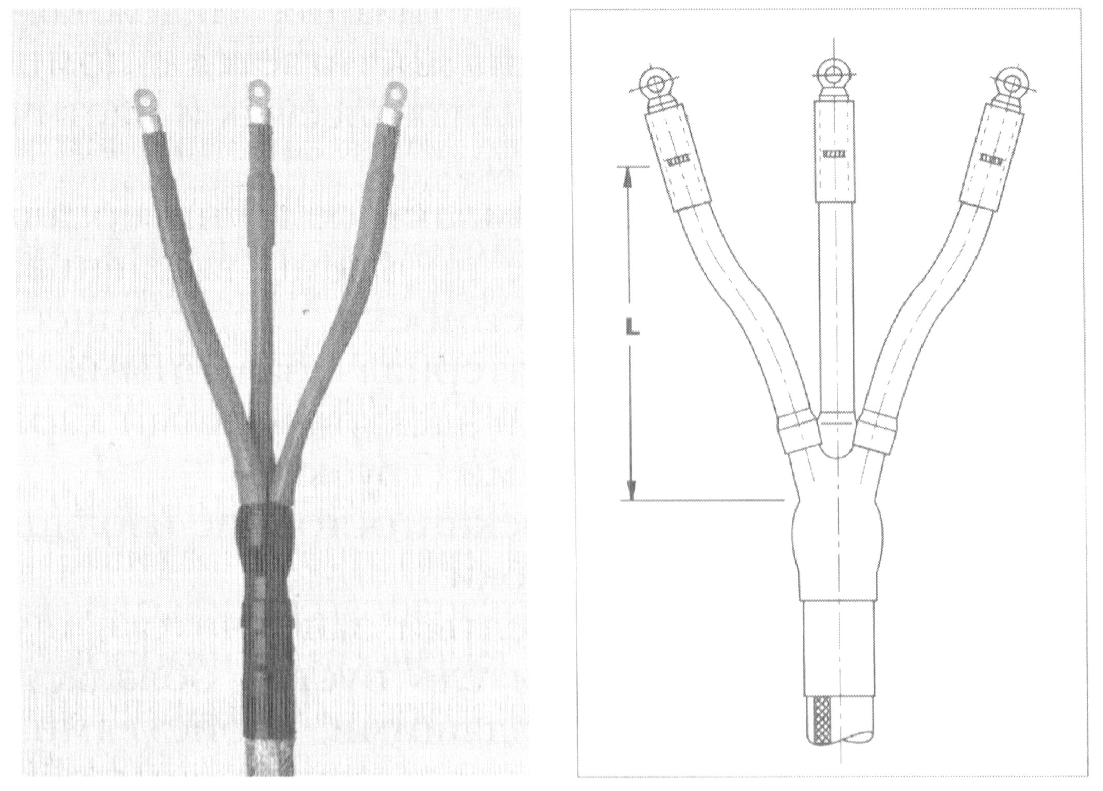 Концевая муфта внутренней установки для 3-х жильных кабелей с бумажной изоляцией и общей оболочкой на напряжение 6 и 10 кВ