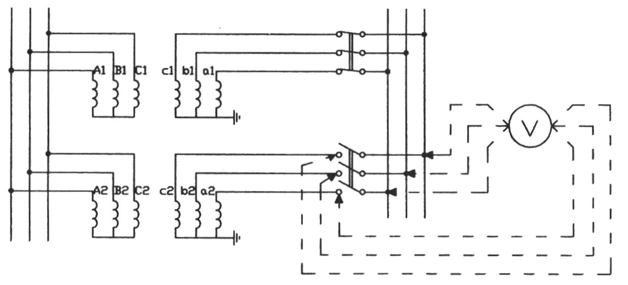 Электрическая схема фазировки в горячую 2-х силовых трансформаторов для параллельной работы