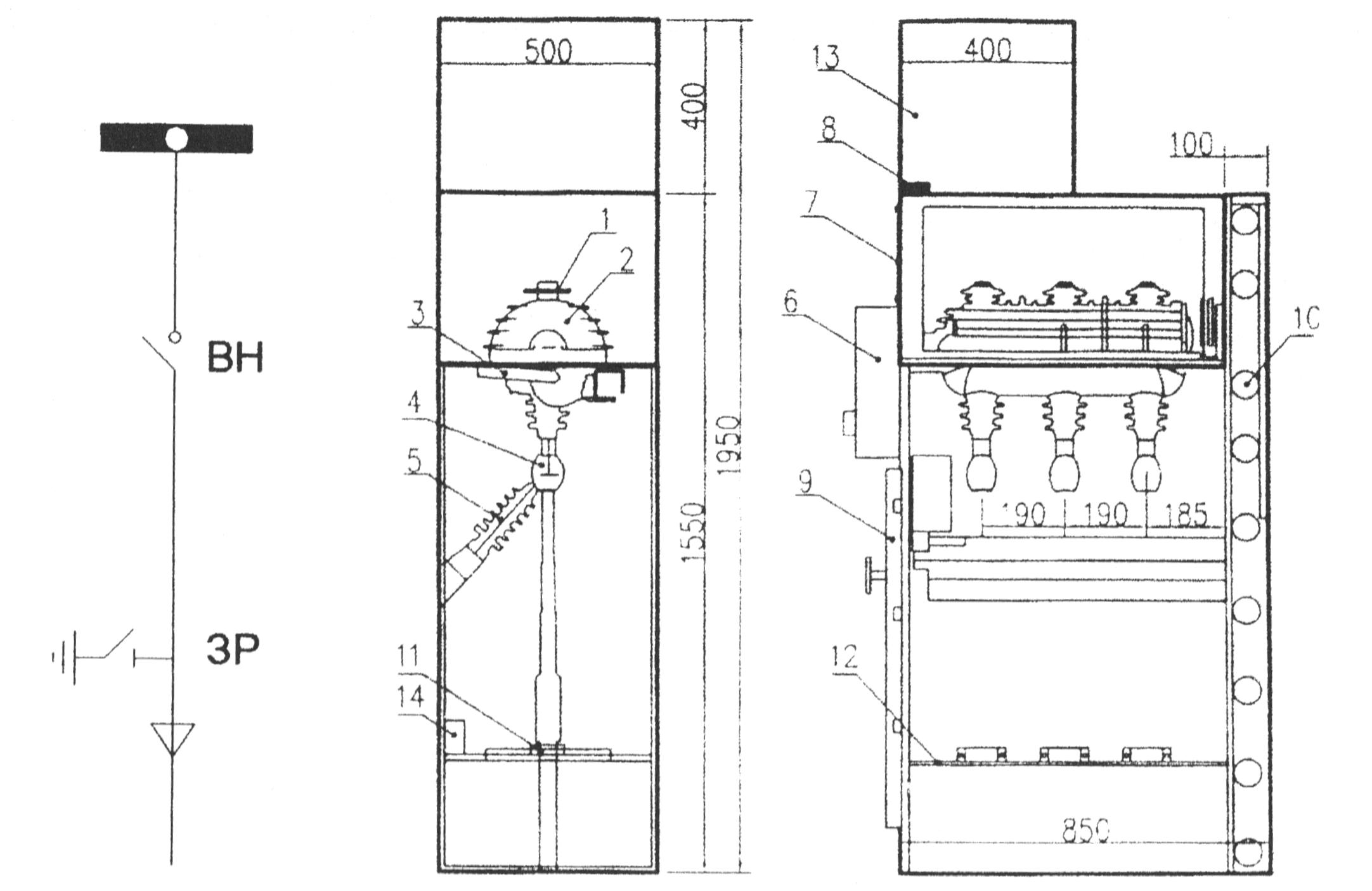 Однолинейная схема, габариты и размещение оборудования в ячейке Alstom типа М-24