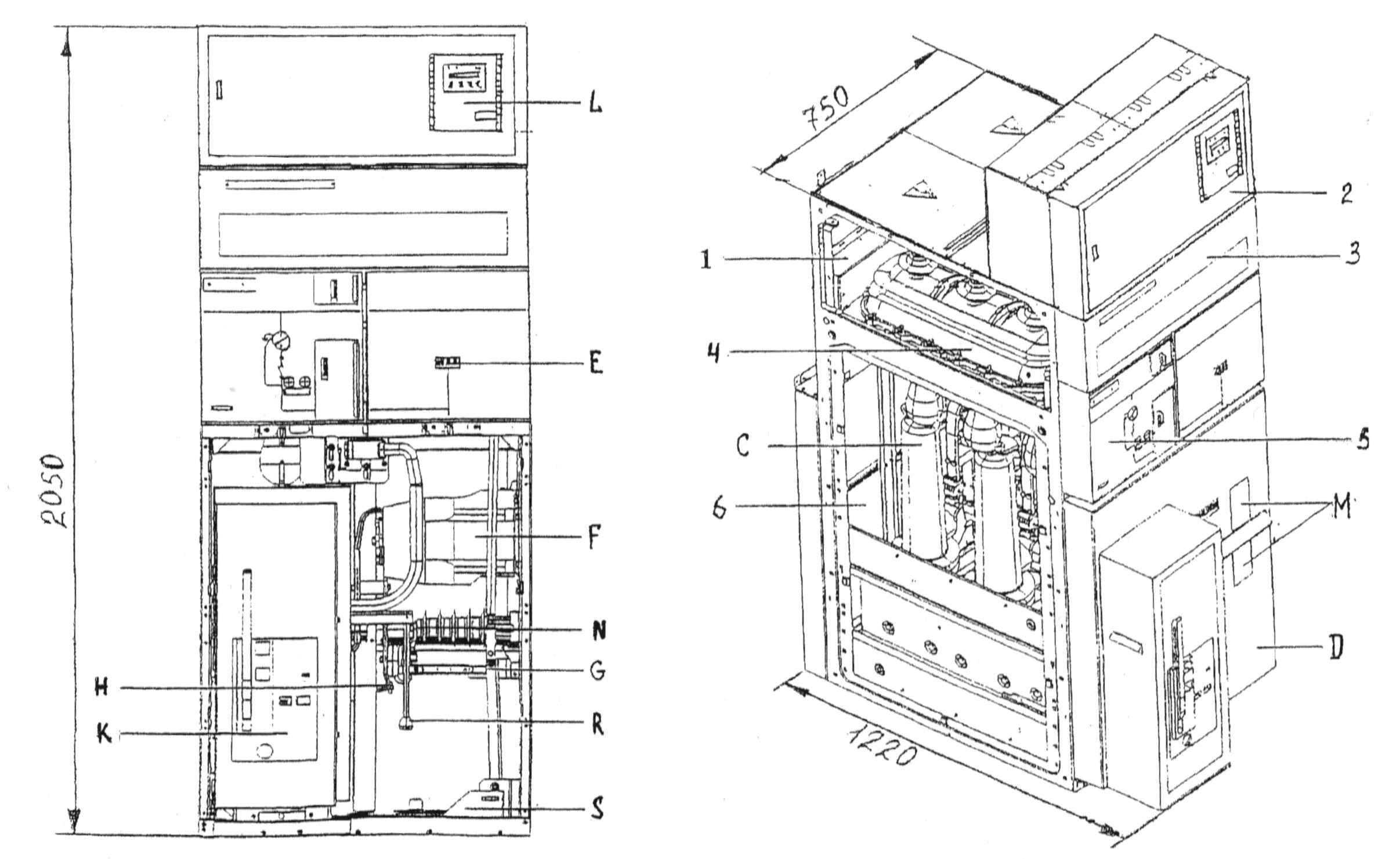 Габариты и размещение оборудования в ячейке SM6