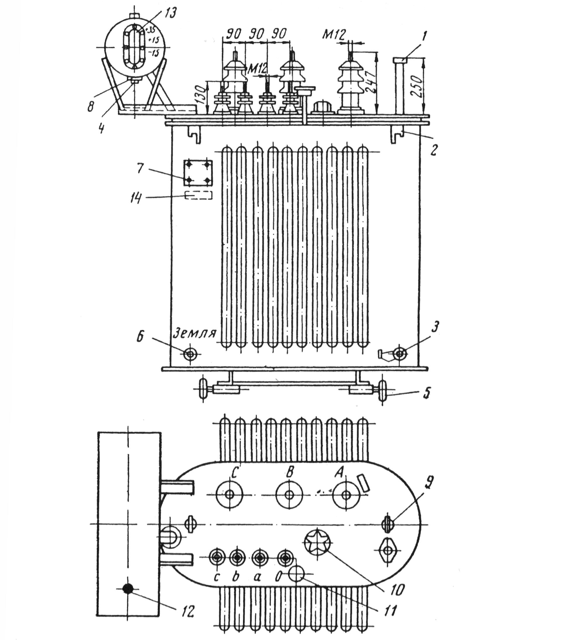 Конструкция трансформатора типа ТМ с плоской магнитной системой