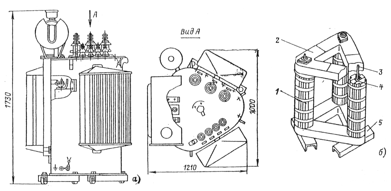 Конструкция трансформатора типа ТМ с пространственной магнитной системой