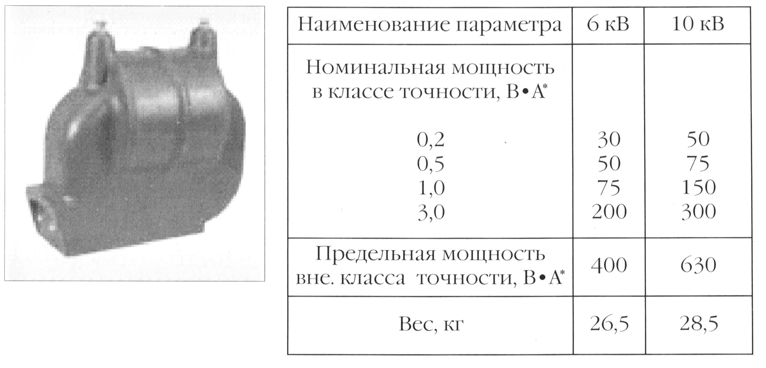 Однофазный трансформатор напряжения с литой изоляцией типа НОЛ.0.8.- номинальная и предельная мощность, вес