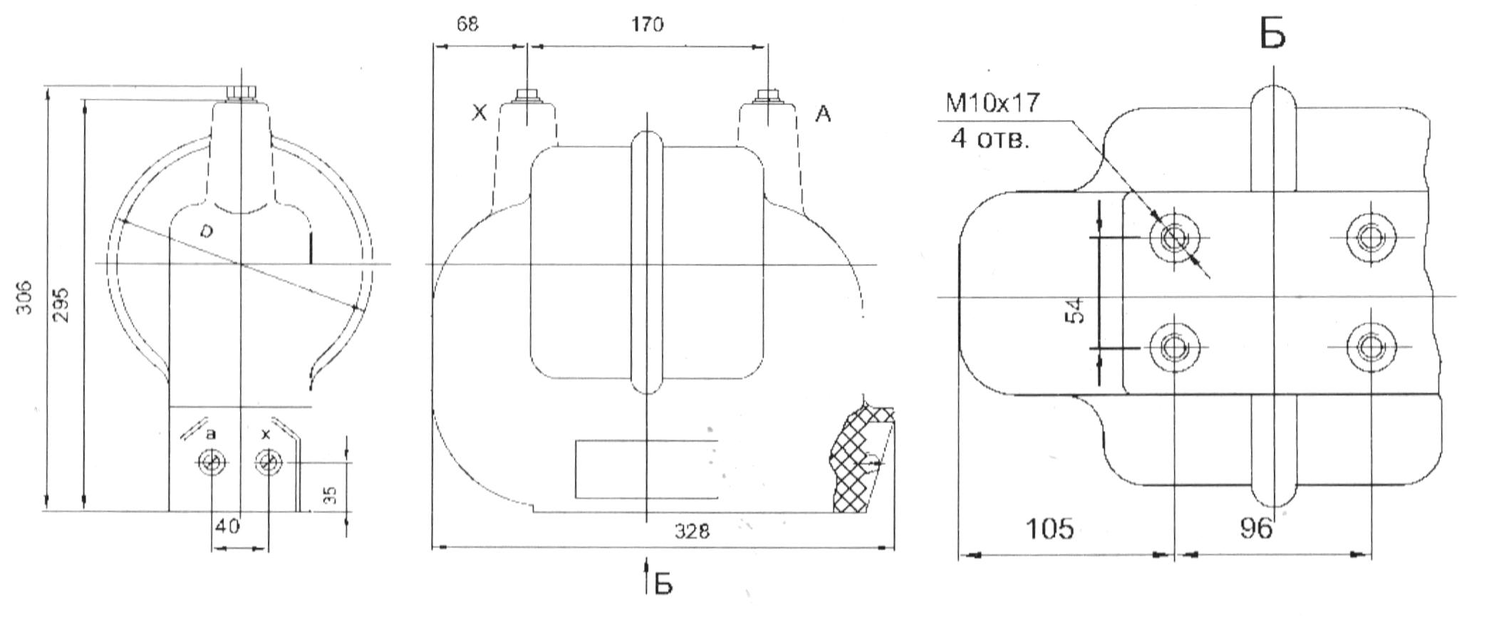 Однофазный трансформатор напряжения с литой изоляцией типа НОЛ.0.8.- габаритные и присоединительные размеры (чертеж)