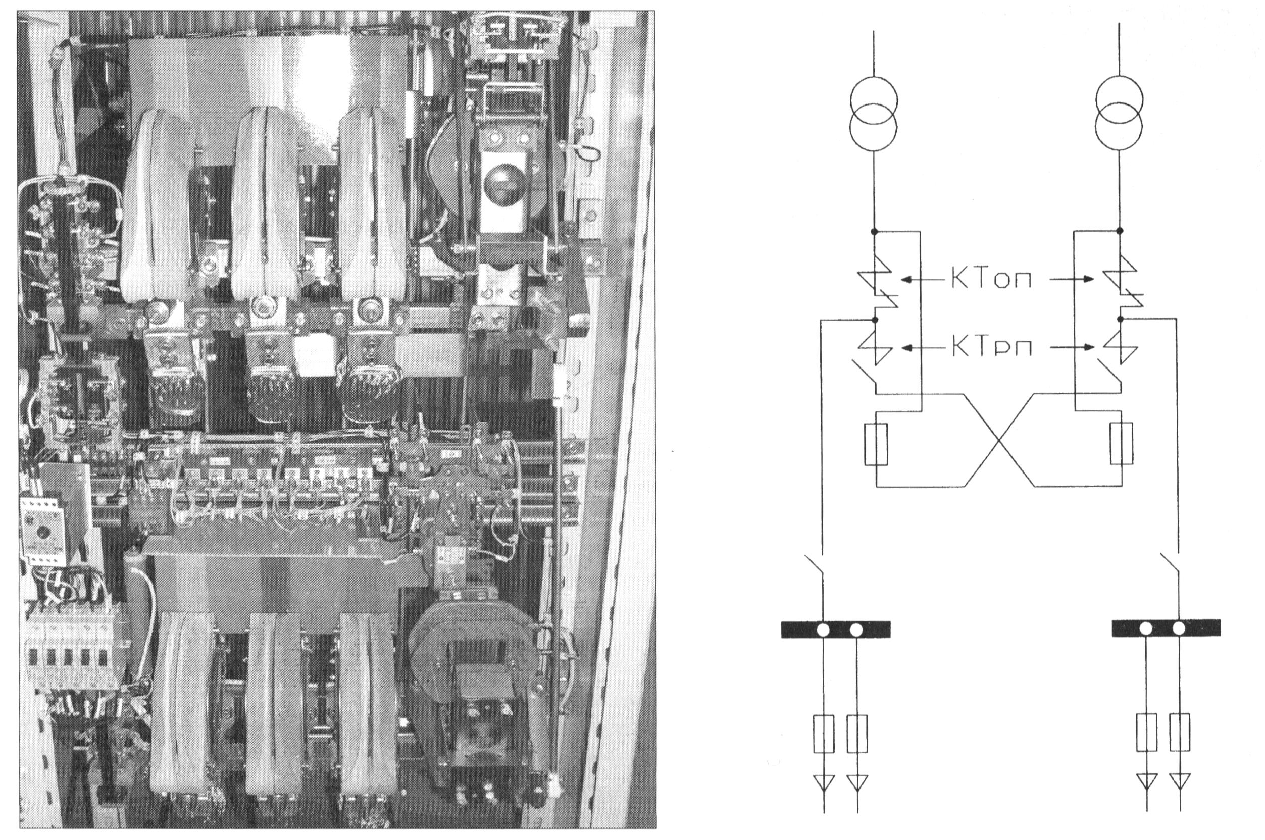 Однолинейная электрическая схема и общий вид АВР на КС типа ПДУ-8302