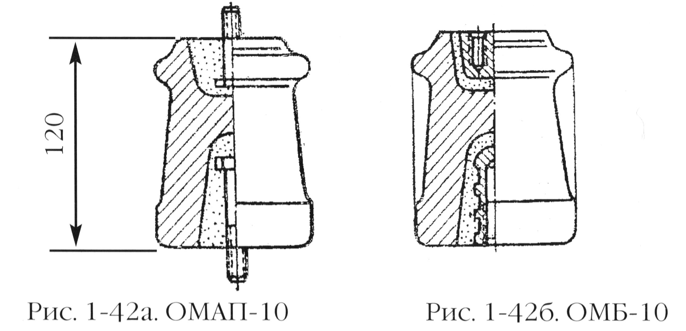 Керамические опорные изоляторы типа ОМАП-10 и ОМБ-10