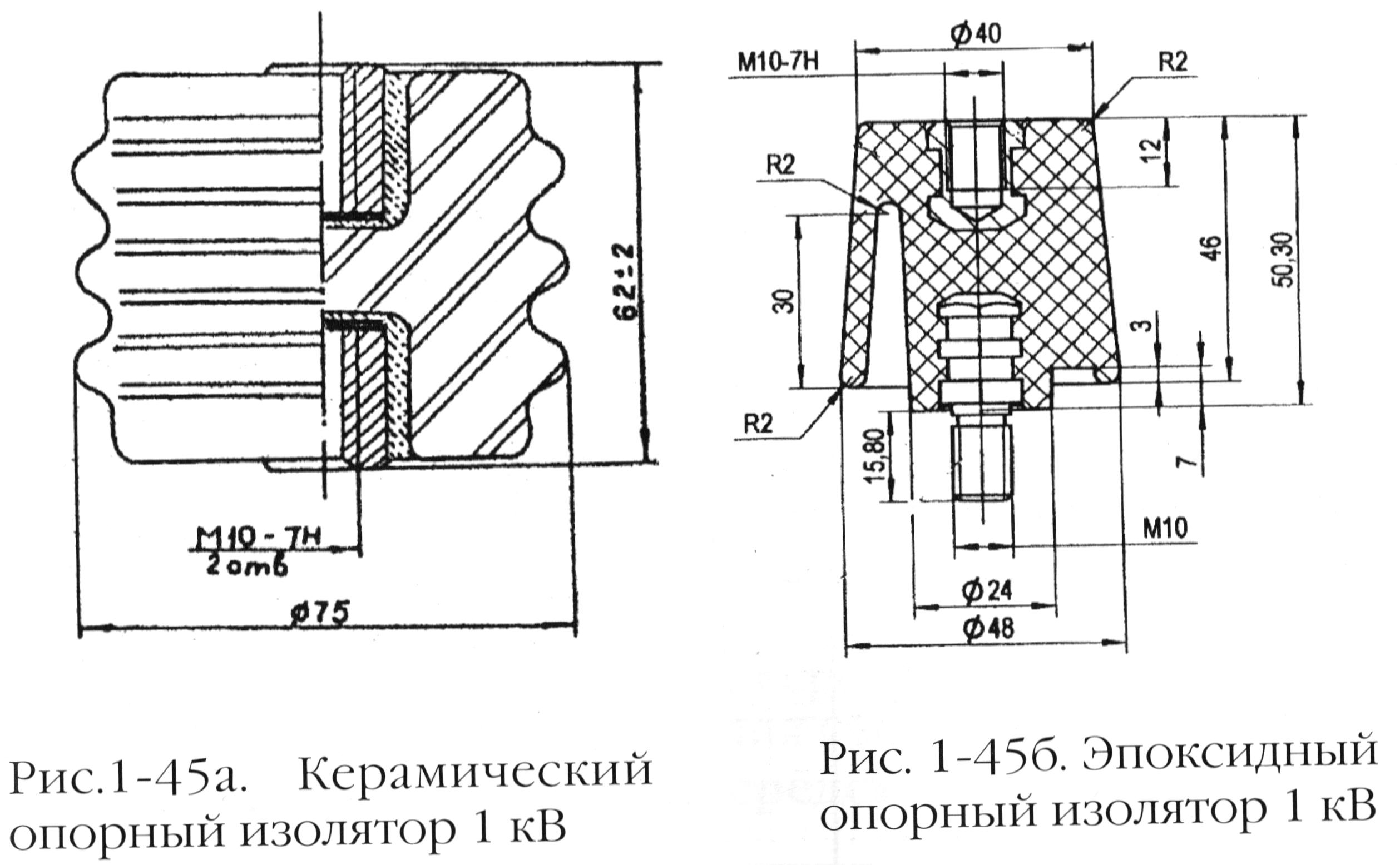 Керамический и эпоксидный опорные изоляторы 1 кВ