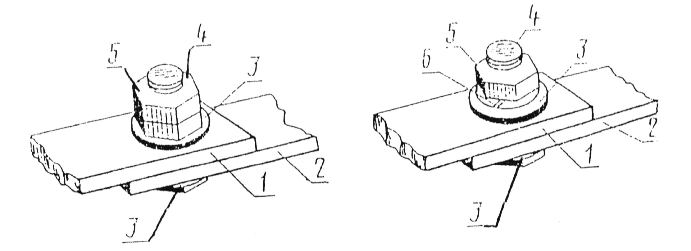Разборные соединения проводников с плоскими контактными поверхностями - с контргайкой (слева) и с пружинной шайбой (справа)