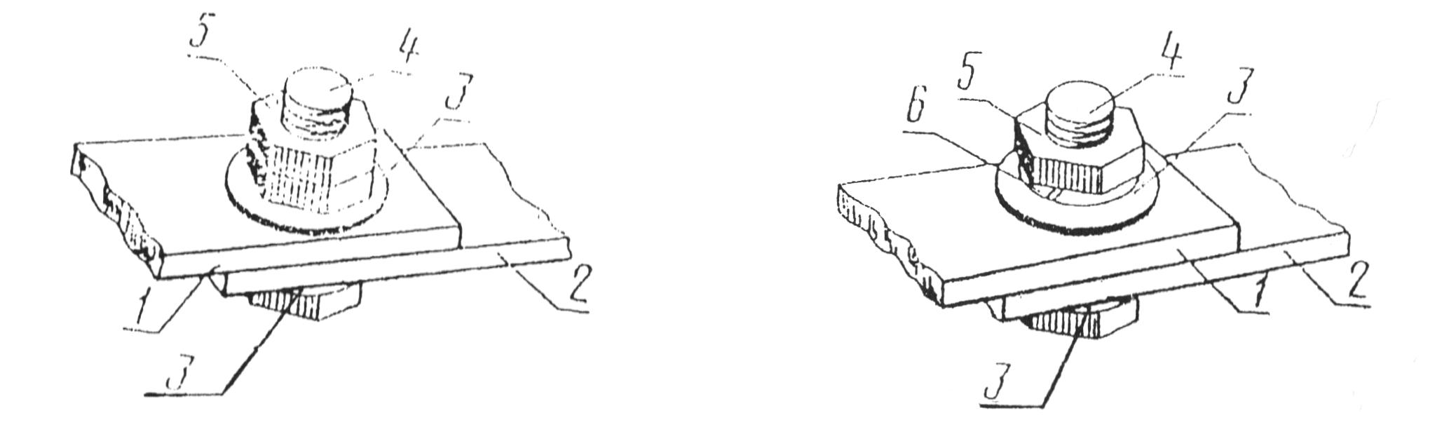 Разборные соединения проводников с плоскими контактными поверхностями со средствами стабилизации - с контргайкой (слева) и с пружинной шайбой (справа)