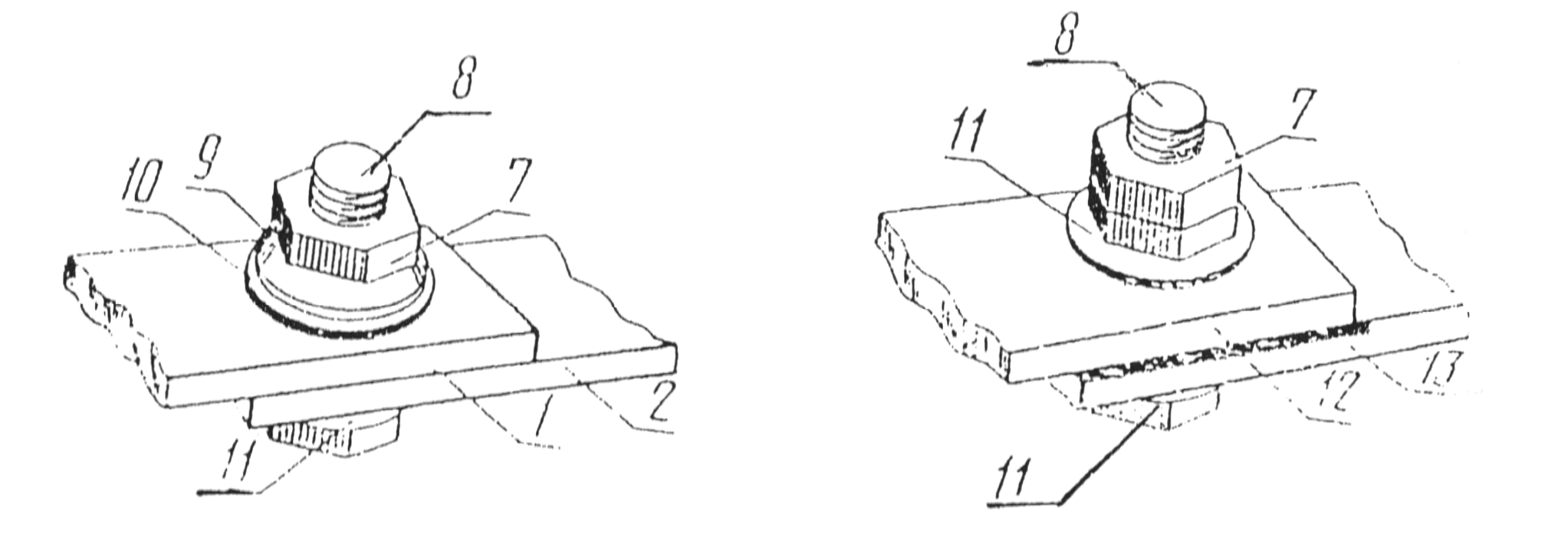 Разборные соединения проводников с плоскими контактными поверхностями со средствами стабилизации - с тарельчатой пружиной (слева) и с металлическим покрытием алюминиевых шин (справа)