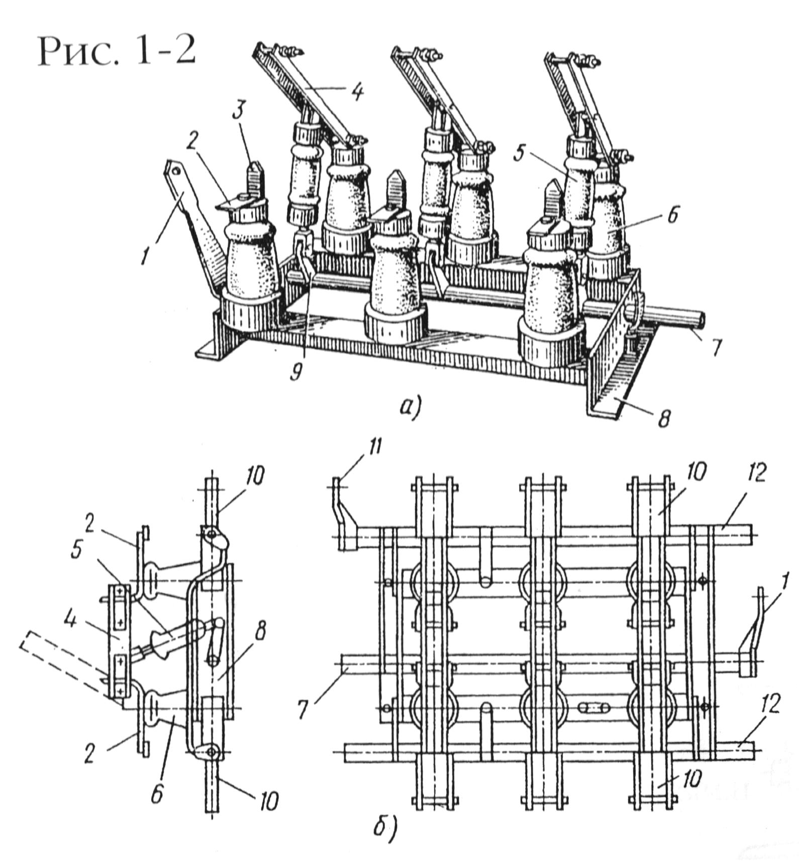 Рис. 1-2. Разъединитель трехполюсный внутренней установки РВ и РВЗ.